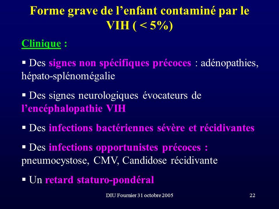 Forme grave de l'enfant contaminé par le VIH ( < 5%)