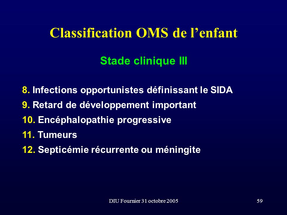 Classification OMS de l'enfant