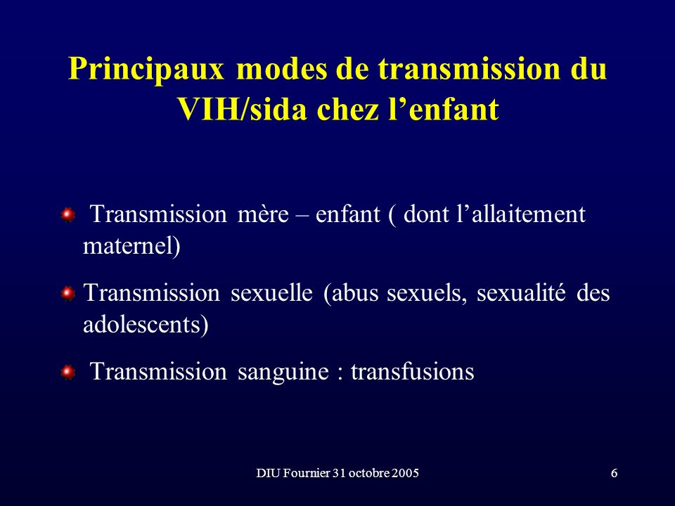 Principaux modes de transmission du VIH/sida chez l'enfant