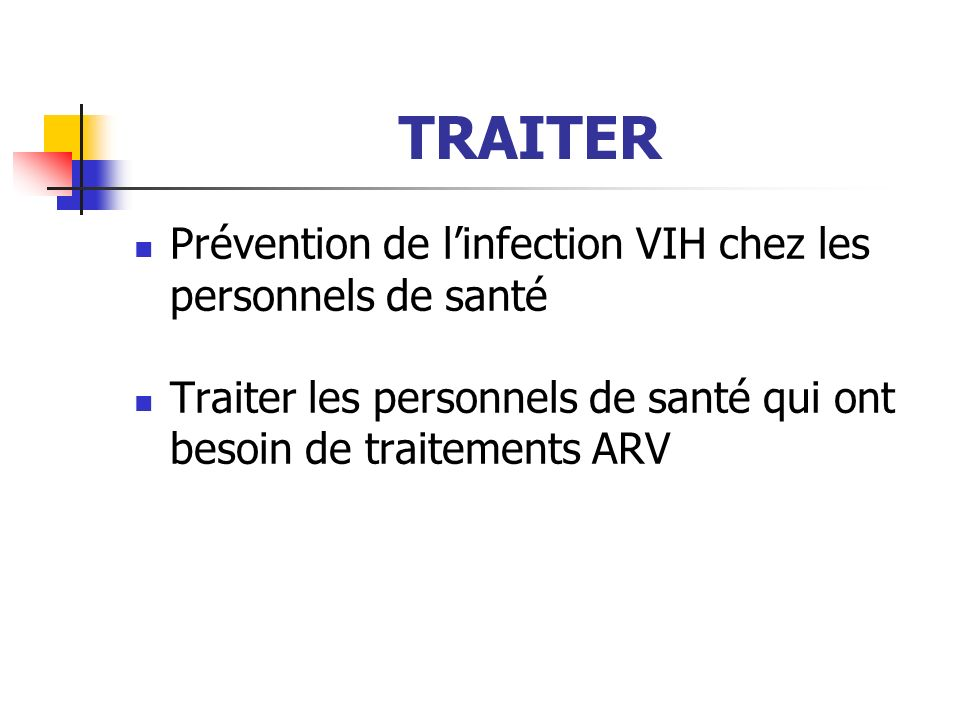 TRAITER Prévention de l'infection VIH chez les personnels de santé