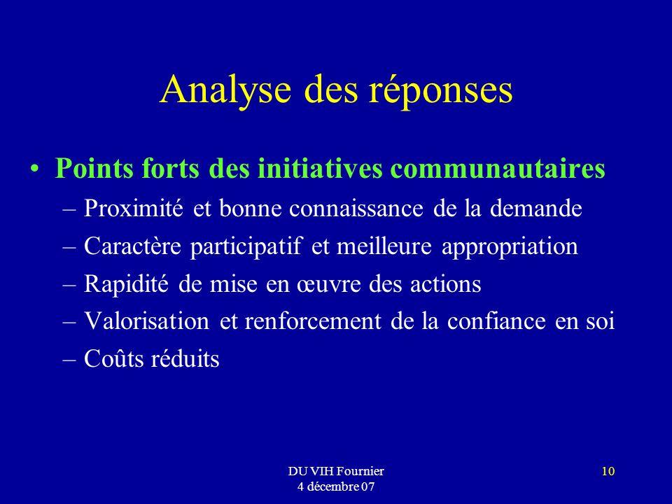 Analyse des réponses Points forts des initiatives communautaires