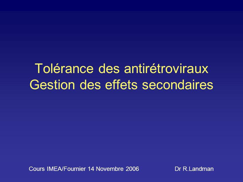 Tolérance des antirétroviraux Gestion des effets secondaires