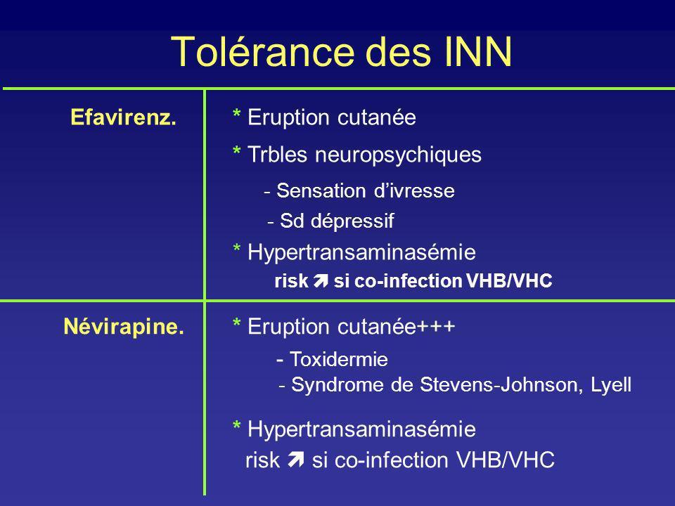 Tolérance des INN Efavirenz. * Eruption cutanée