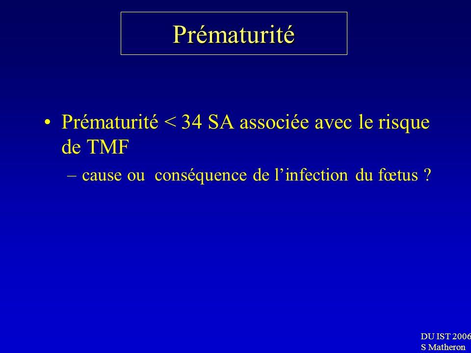 Prématurité Prématurité < 34 SA associée avec le risque de TMF