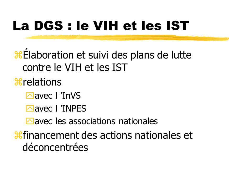 La DGS : le VIH et les IST Élaboration et suivi des plans de lutte contre le VIH et les IST. relations.