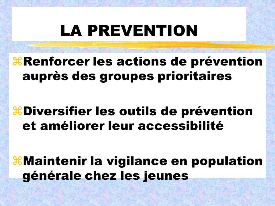 LA PREVENTION Renforcer les actions de prévention auprès des groupes prioritaires.