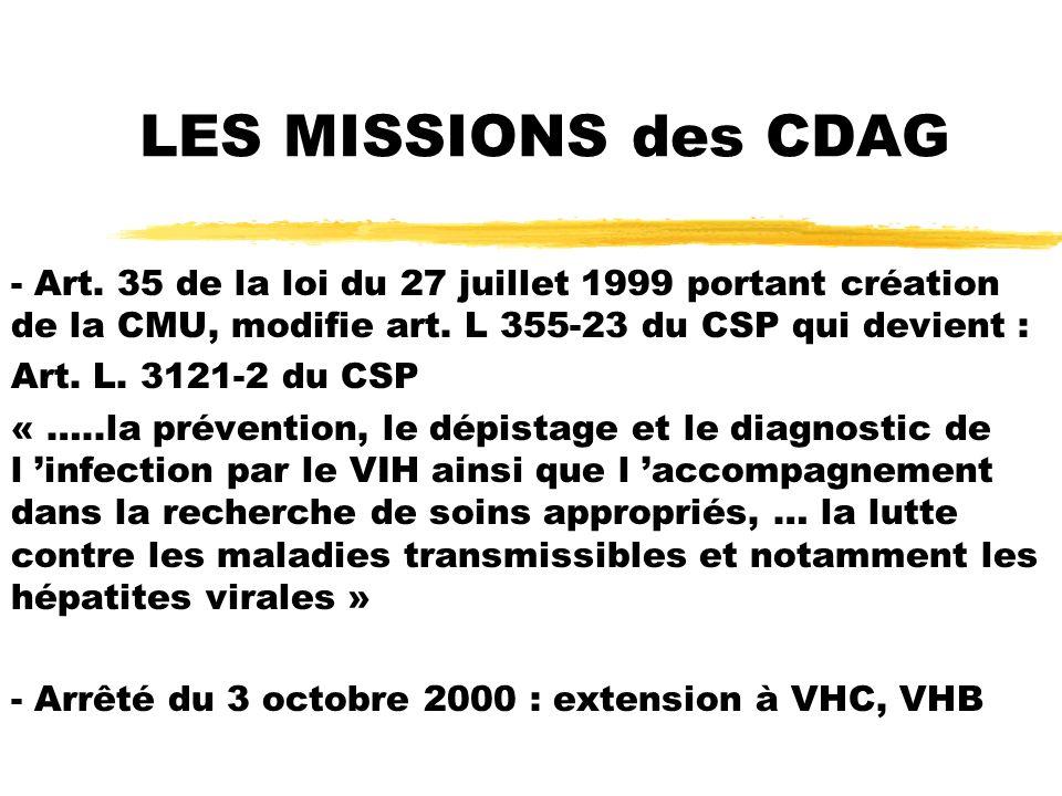 LES MISSIONS des CDAG - Art. 35 de la loi du 27 juillet 1999 portant création de la CMU, modifie art. L 355-23 du CSP qui devient :