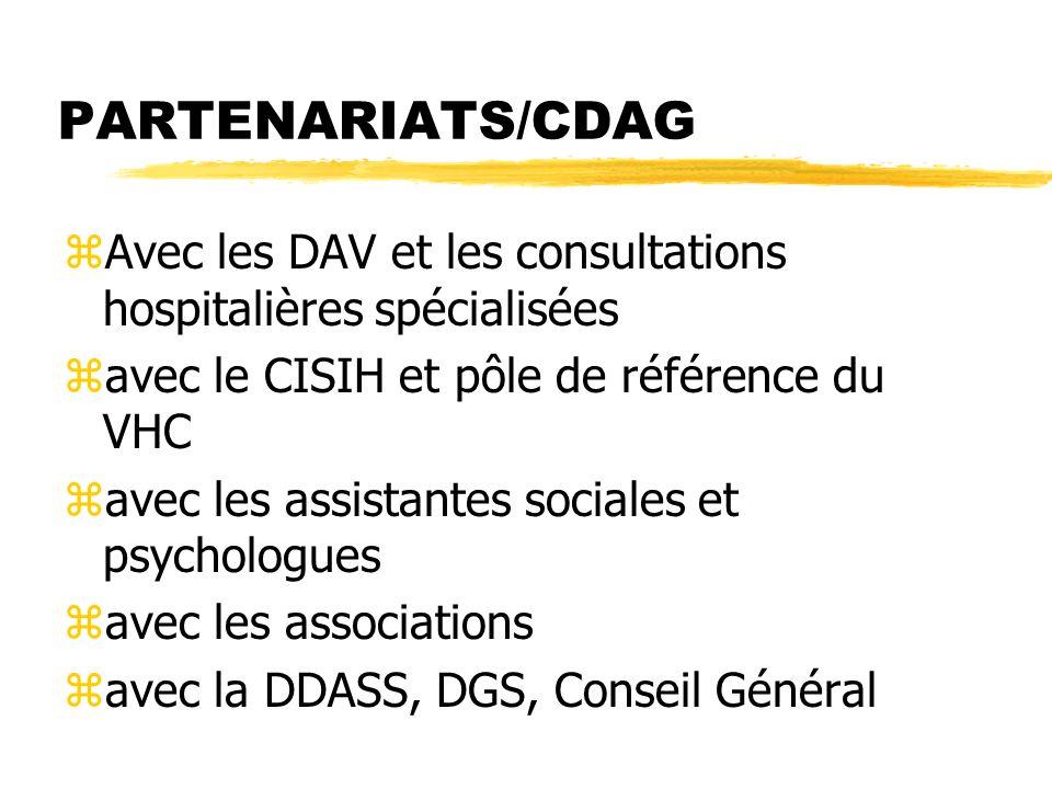 PARTENARIATS/CDAG Avec les DAV et les consultations hospitalières spécialisées. avec le CISIH et pôle de référence du VHC.