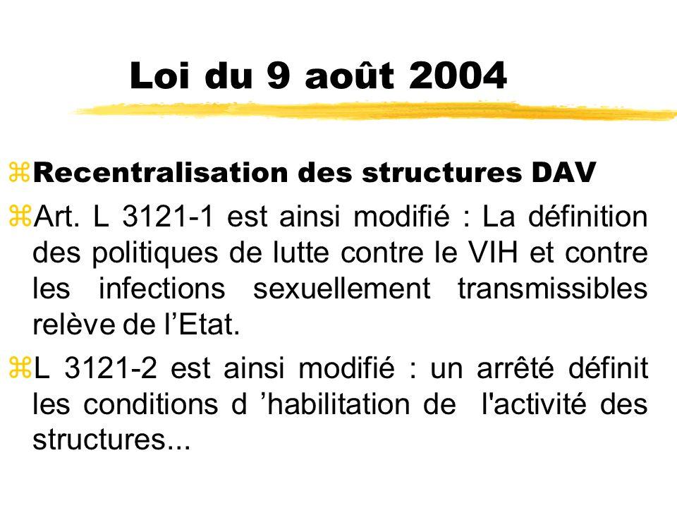Loi du 9 août 2004 Recentralisation des structures DAV.