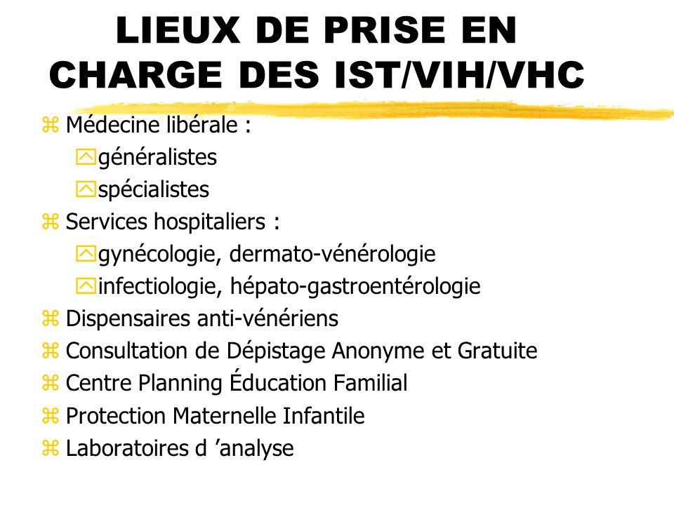LIEUX DE PRISE EN CHARGE DES IST/VIH/VHC
