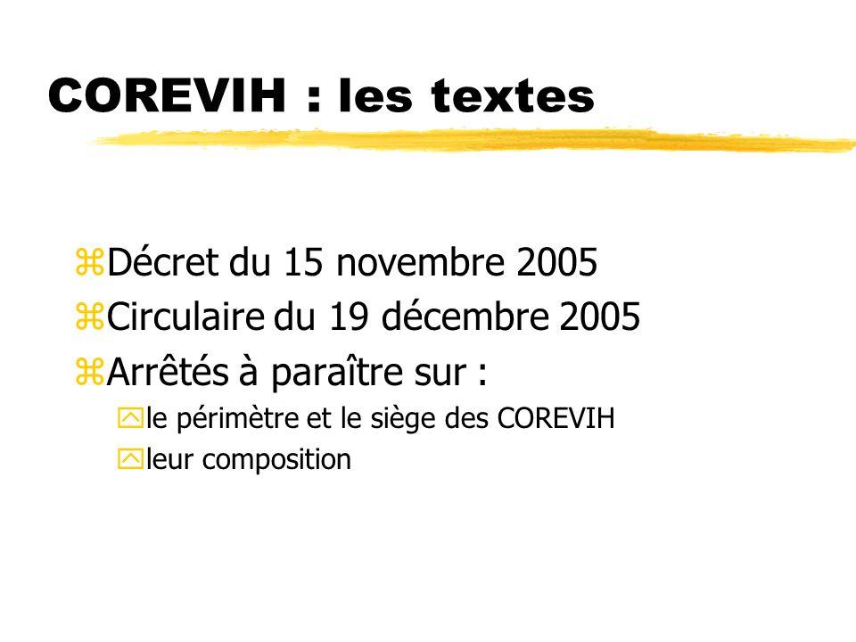 COREVIH : les textes Décret du 15 novembre 2005