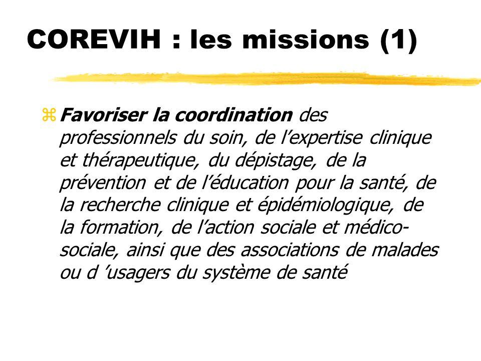 COREVIH : les missions (1) (Décret du 15 novembre 2005)