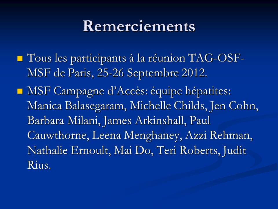 Remerciements Tous les participants à la réunion TAG-OSF-MSF de Paris, 25-26 Septembre 2012.