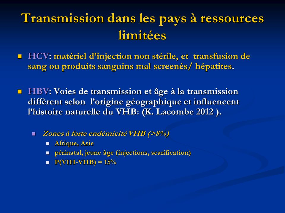 Transmission dans les pays à ressources limitées