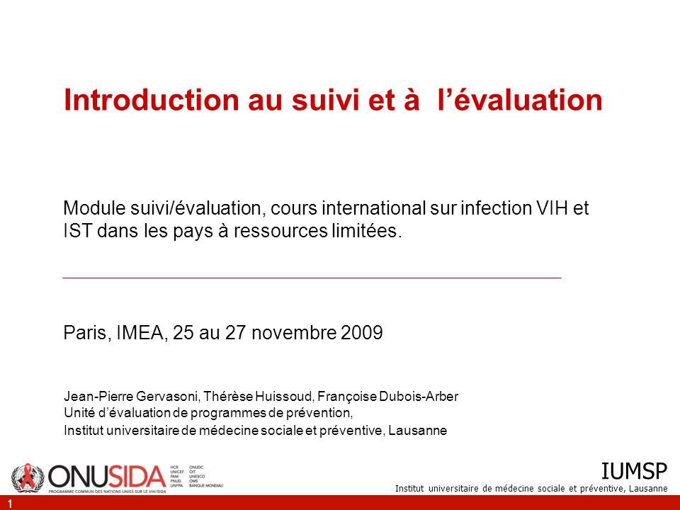 Introduction au suivi et à l'évaluation