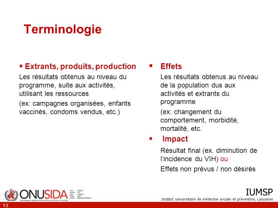 Terminologie Extrants, produits, production. Les résultats obtenus au niveau du programme, suite aux activités, utilisant les ressources.