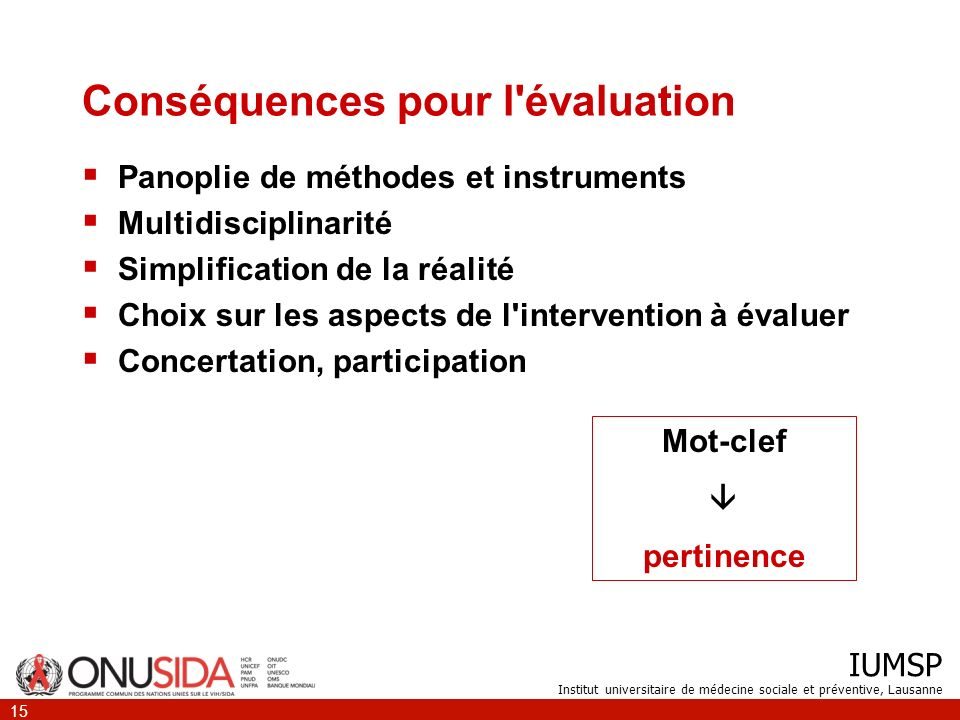 Conséquences pour l évaluation