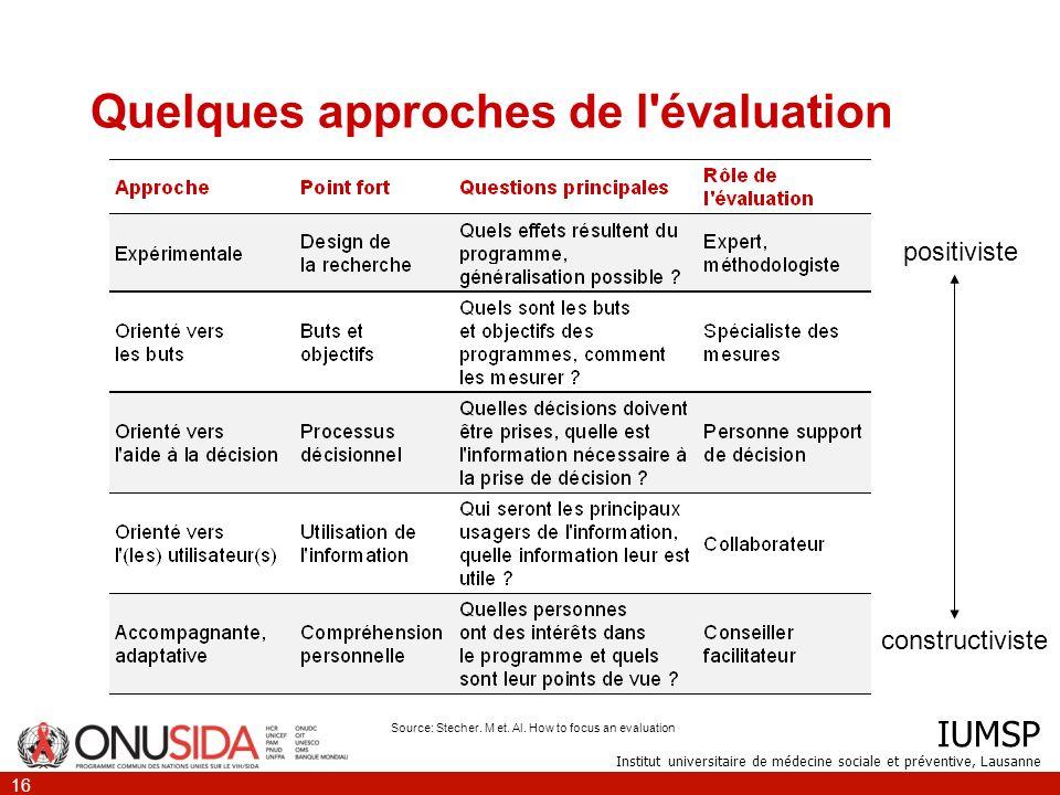 Quelques approches de l évaluation