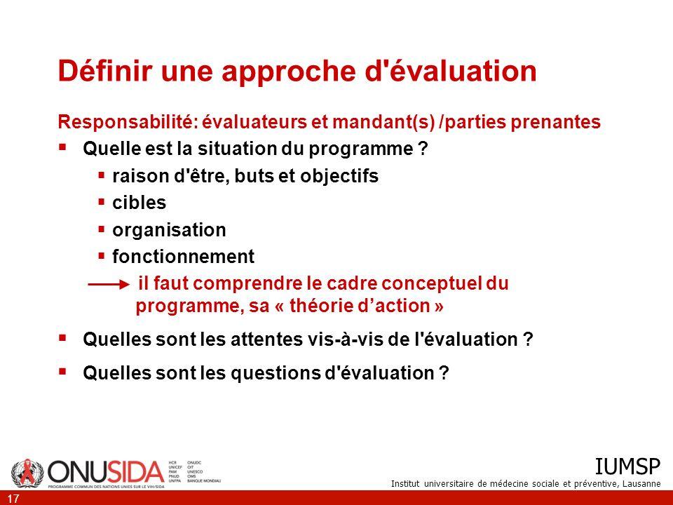 Définir une approche d évaluation
