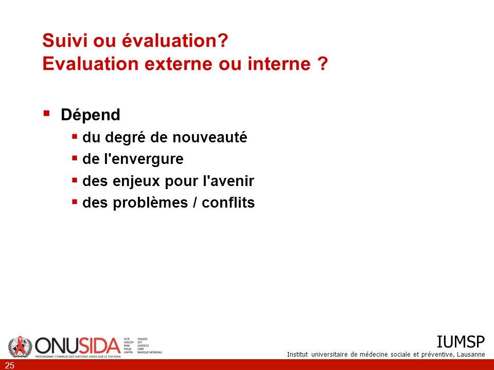 Suivi ou évaluation Evaluation externe ou interne