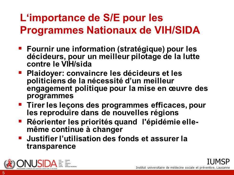 L'importance de S/E pour les Programmes Nationaux de VIH/SIDA