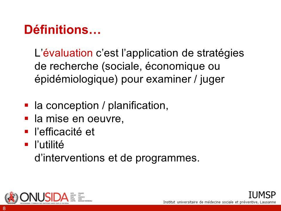 Définitions… L'évaluation c'est l'application de stratégies de recherche (sociale, économique ou épidémiologique) pour examiner / juger.