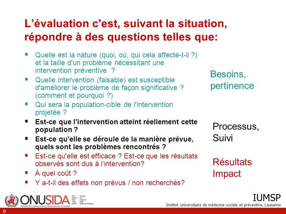 L'évaluation c est, suivant la situation, répondre à des questions telles que:
