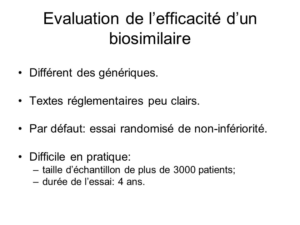 Evaluation de l'efficacité d'un biosimilaire
