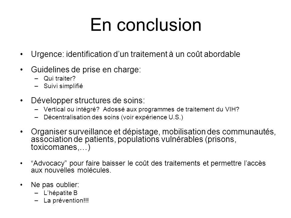 En conclusion Urgence: identification d'un traitement à un coût abordable. Guidelines de prise en charge: