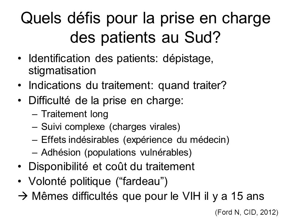 Quels défis pour la prise en charge des patients au Sud