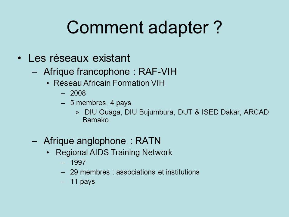 Comment adapter Les réseaux existant Afrique francophone : RAF-VIH