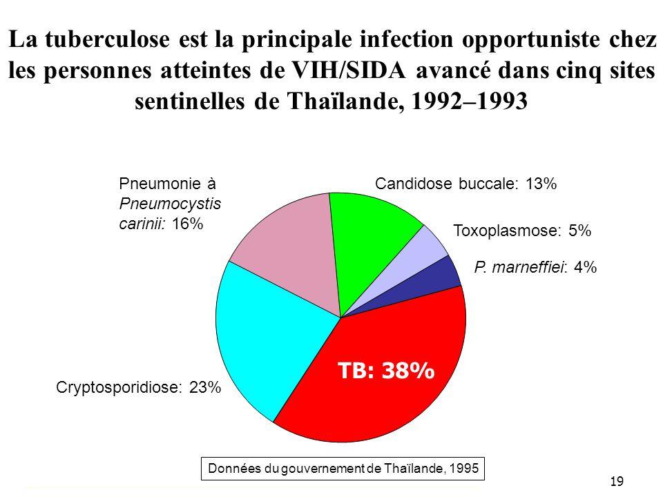 La tuberculose est la principale infection opportuniste chez les personnes atteintes de VIH/SIDA avancé dans cinq sites sentinelles de Thaïlande, 1992–1993