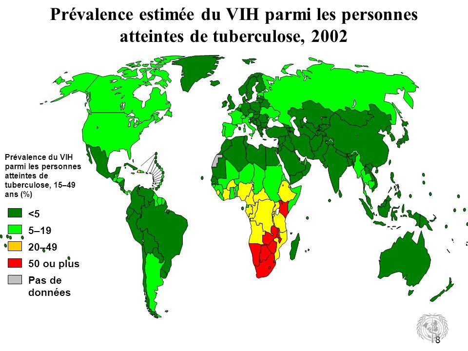 Prévalence estimée du VIH parmi les personnes atteintes de tuberculose, 2002