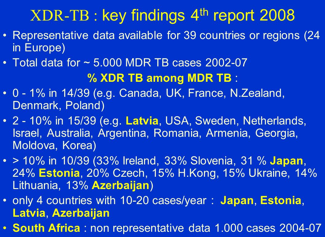 XDR-TB : key findings 4th report 2008