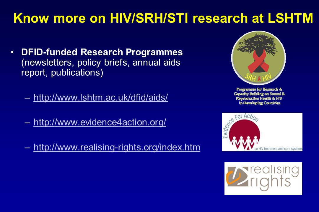 Know more on HIV/SRH/STI research at LSHTM
