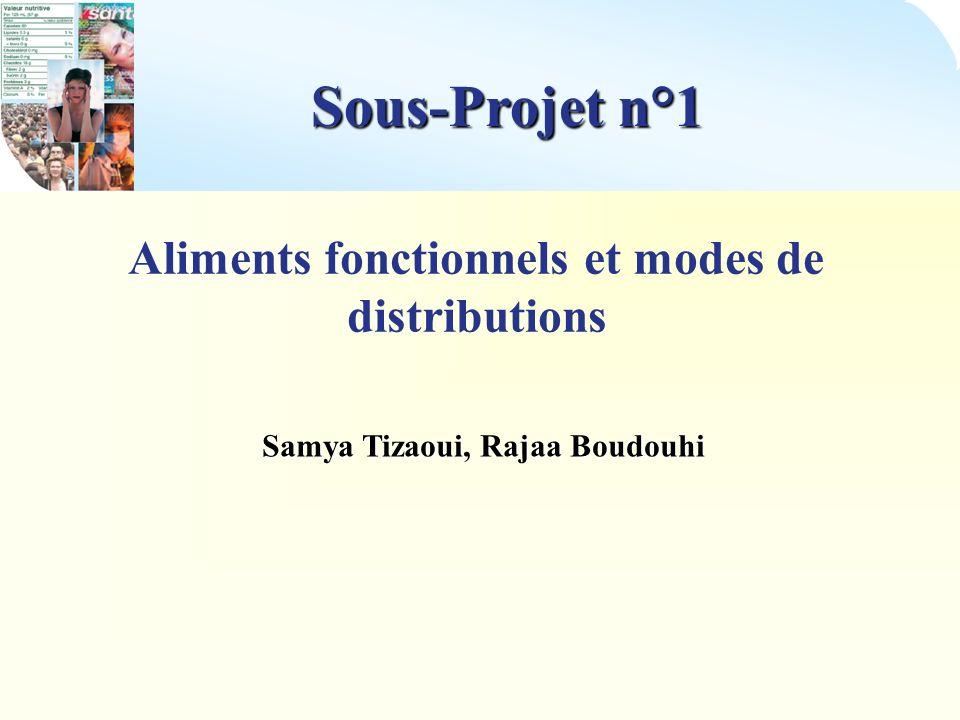 Sous-Projet n°1 Aliments fonctionnels et modes de distributions