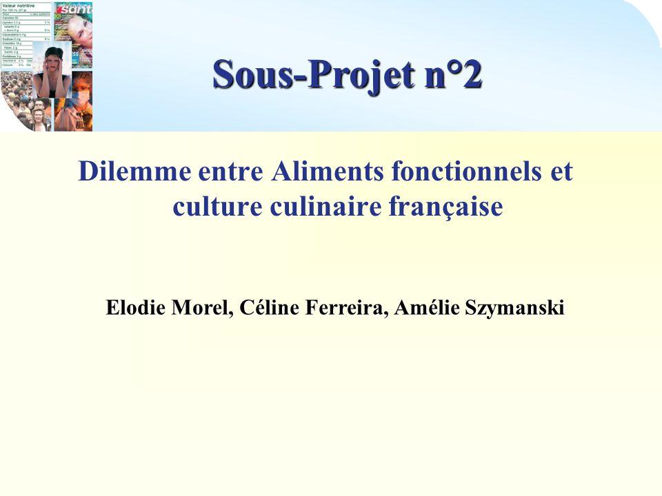 Sous-Projet n°2 Dilemme entre Aliments fonctionnels et culture culinaire française.