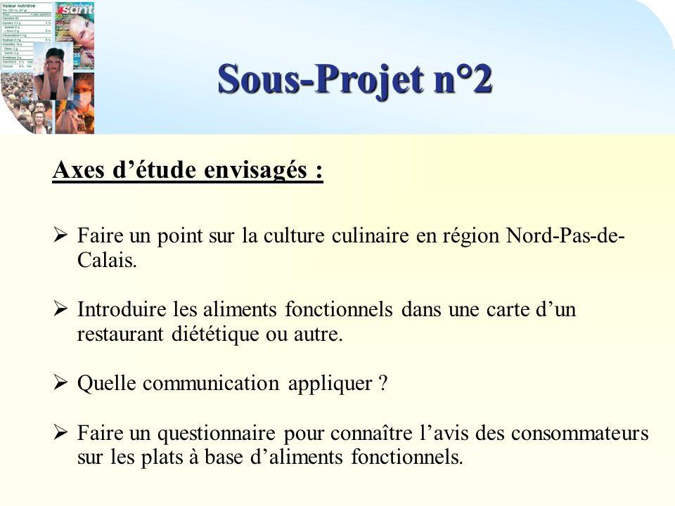 Sous-Projet n°2 Axes d'étude envisagés :