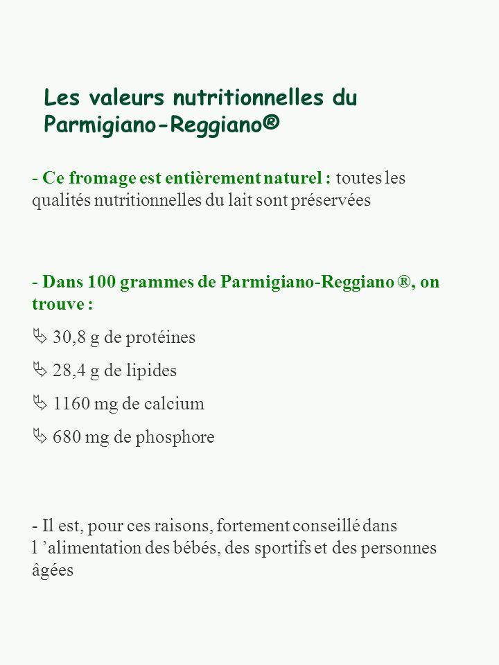 Les valeurs nutritionnelles du Parmigiano-Reggiano®