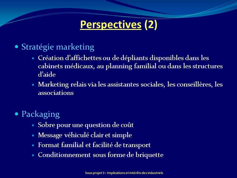 Perspectives (2) Stratégie marketing Packaging