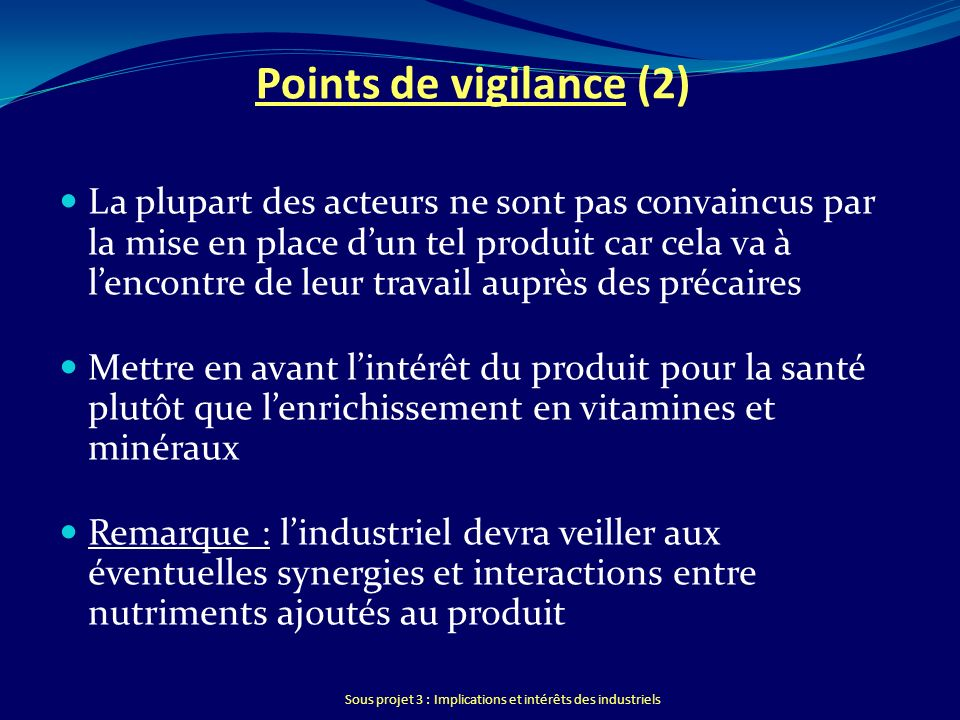 Points de vigilance (2)