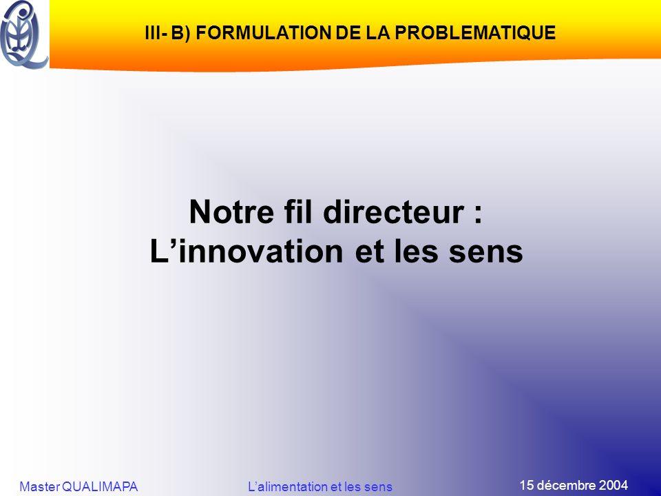 Notre fil directeur : L'innovation et les sens
