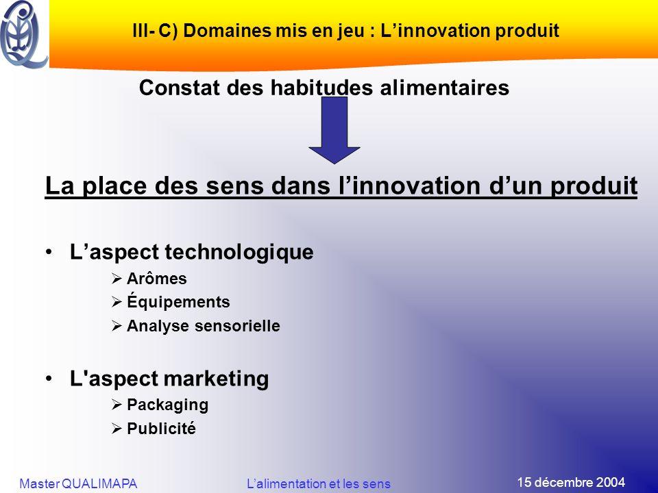 III- C) Domaines mis en jeu : L'innovation produit