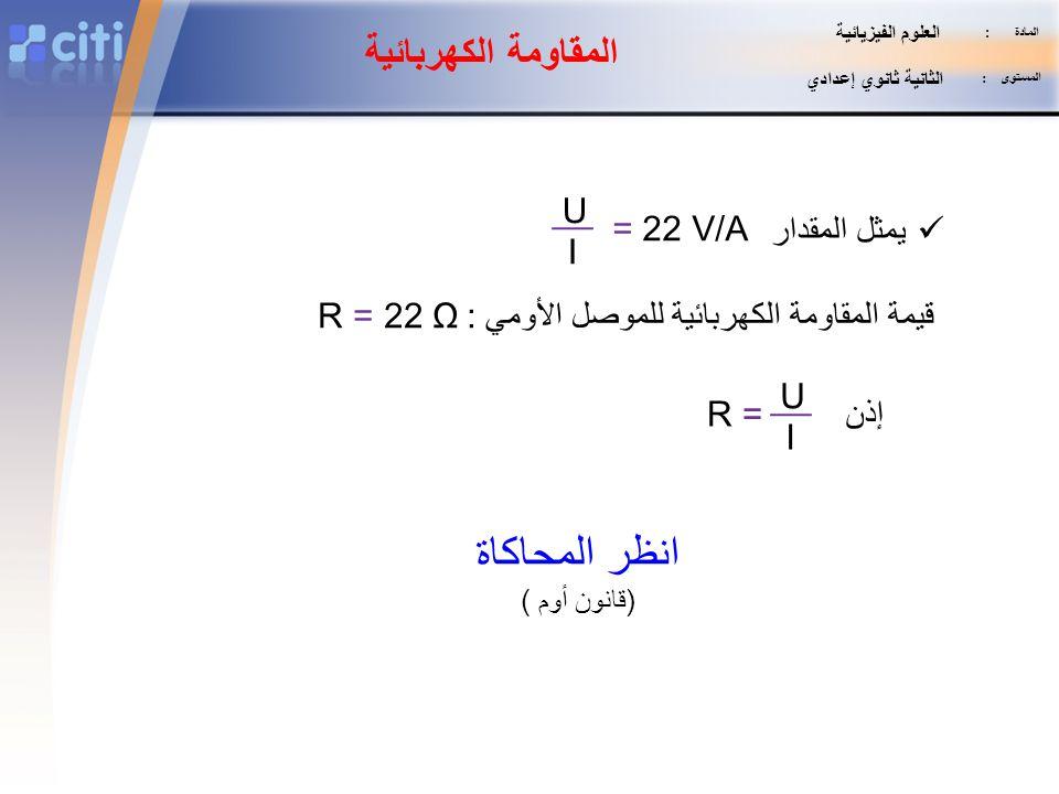 انظر المحاكاة المقاومة الكهربائية U = 22 V/A يمثل المقدار I
