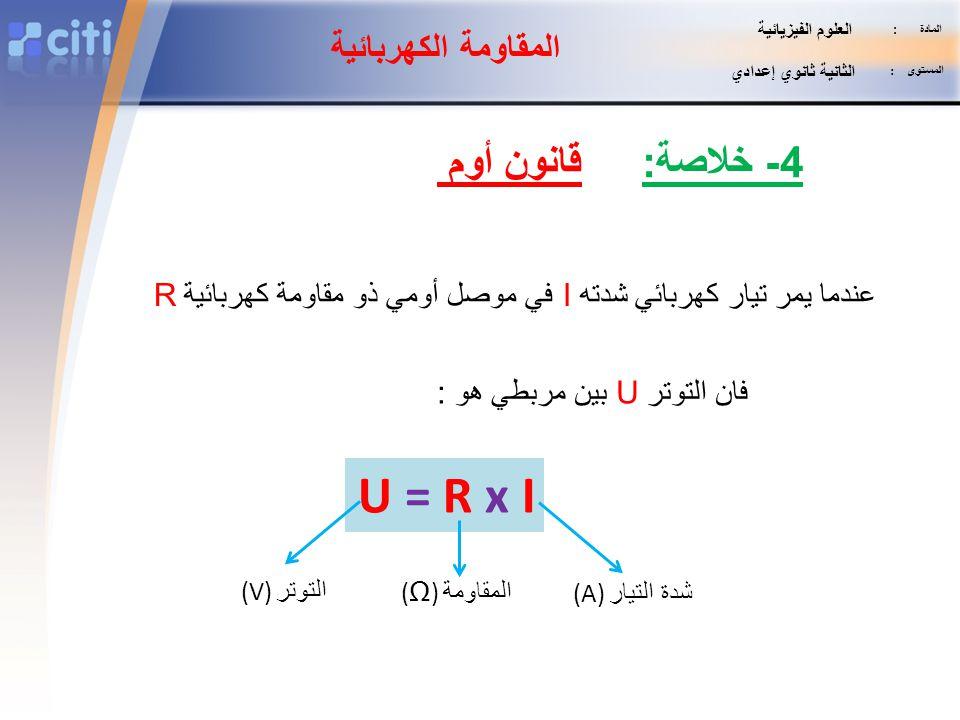 U = R x I قانون أوم 4- خلاصة: المقاومة الكهربائية