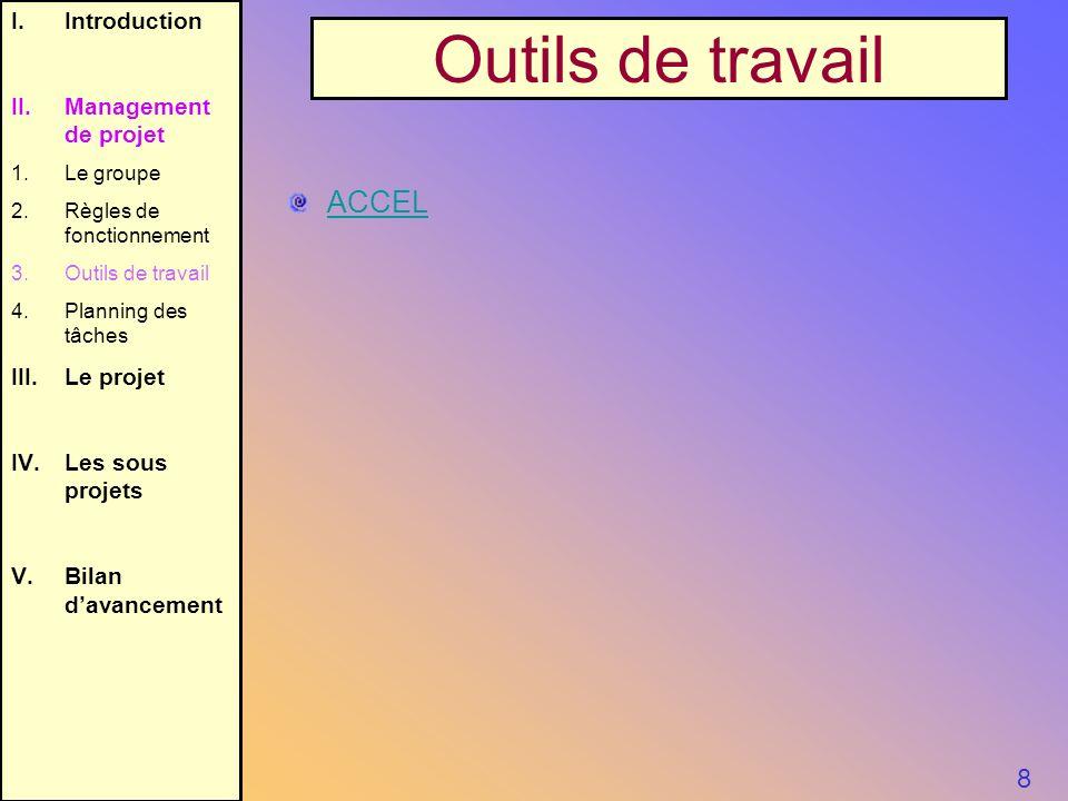 Outils de travail ACCEL 8 Introduction II. Management de projet