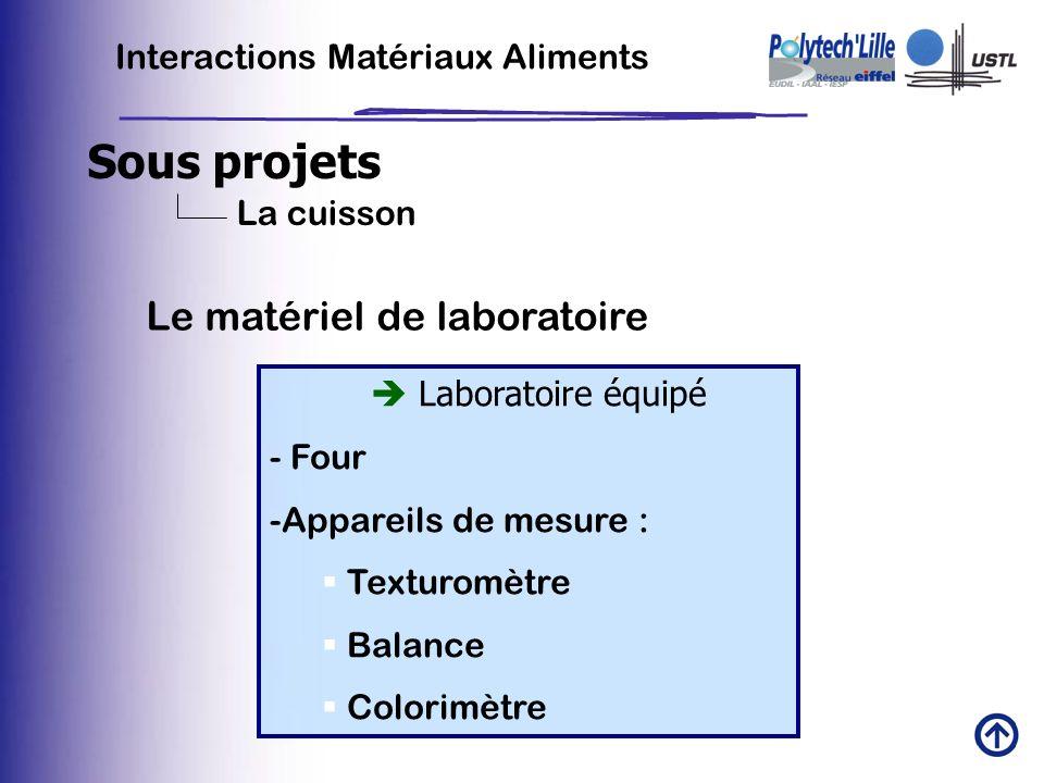 Sous projets Le matériel de laboratoire