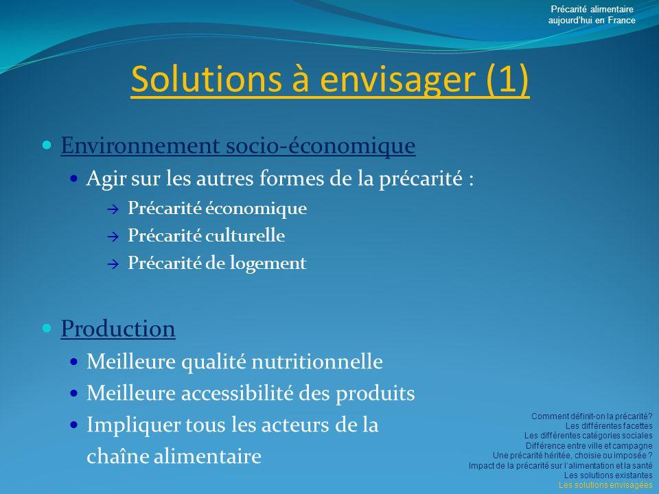 Solutions à envisager (1)