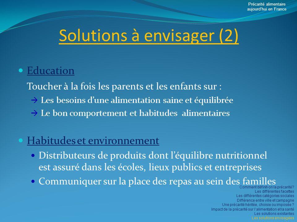 Solutions à envisager (2)