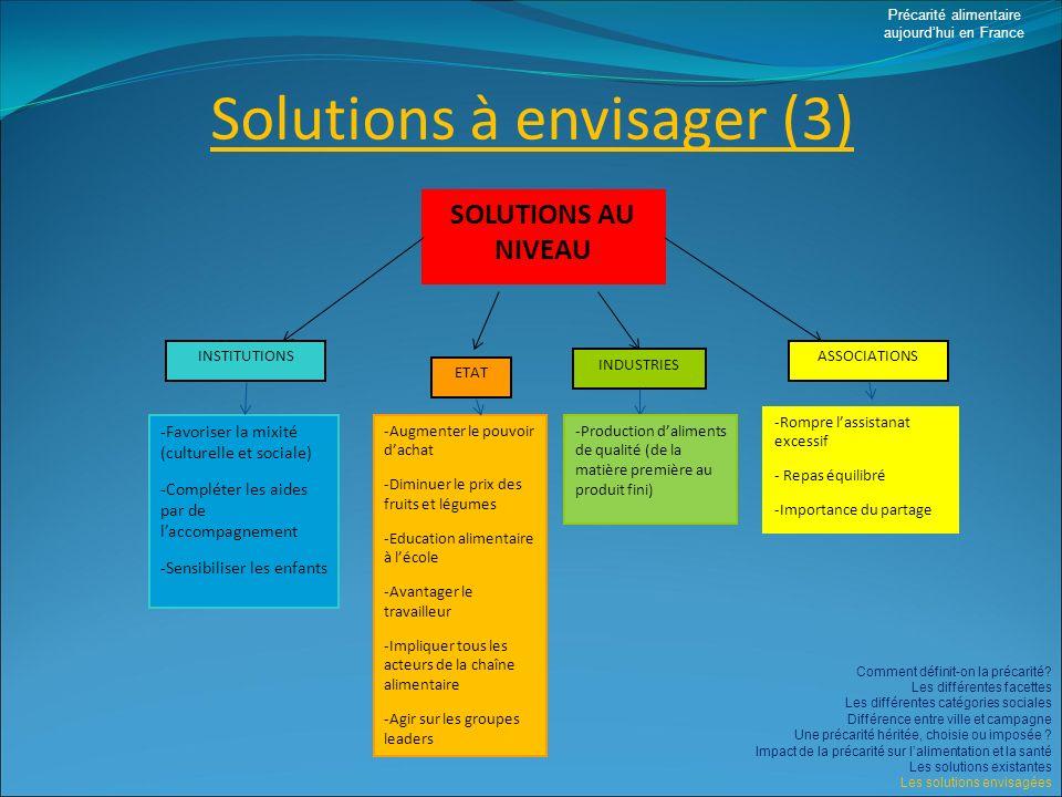 Solutions à envisager (3)
